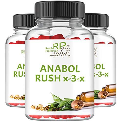 Anabol Rush X-3-X, Hardcore Testosteron Booster, 90 Kapseln Hochdosiert, Muskelaufbau Anabolika, Hochwertig, High Energy - Pre-Workout Nahrungsergänzungsmittel