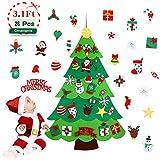 Aitsite Árbol de Navidad de Fieltro, Árbol Navidad niños, Fieltro Navidad DIY de 3.1 pies con 26 Adornos, Decoración para Colgar en la Pared de la Puerta del Hogar