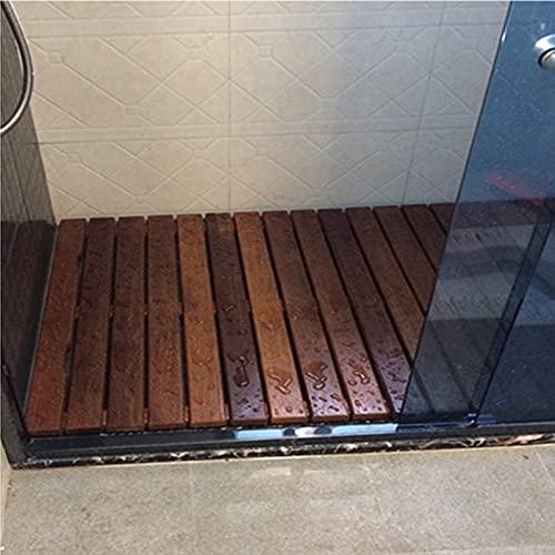 KDDFN Alfombra de Baño de Madera,Alfombrilla de Ducha,Tarima de Madera para Ducha,Diseño de Listones,para un Fácil Almacenamiento,Uso en Interiores y Exteriores (45x70cm/18x28in)