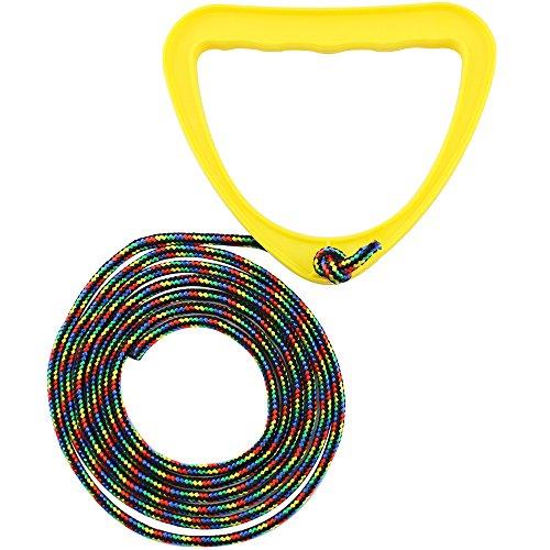 com-four® Schlittenleine mit Griff, Rodel-zubehör Zugseil für Schlitten, Dreirad oder andere Kinderfahrzeuge (Schlittenleine - 01 Stück gelb)
