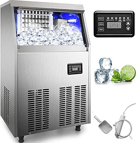 LSWY MAKETER Comercial DE Ice 80 LBS / 24H con Papelera de 33 Libras y Bomba de Drenaje de Agua eléctrica, Cubo Claro, Acero Inoxidable