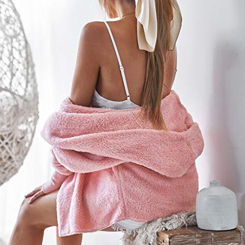 Blusa de manga larga para mujer, con capucha, chaqueta de invierno, chaqueta de invierno, abrigo exterior, blusa de color liso para regalos de Pascua (rosa-L)
