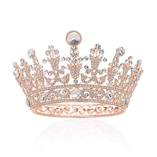 SWEETV Full Round Crystal Queen Crown for Women, Rhinestone Tiara Cake Topper for Birthday Pageant Prom Wedding Baby Shower,Rose Gold