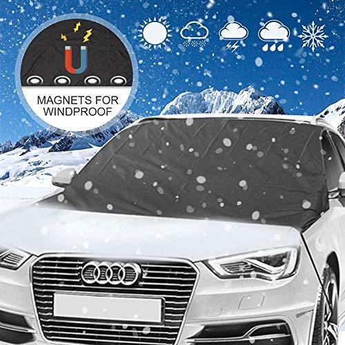 Chengtao Frontscheibenabdeckung Scheibenabdeckung Auto Frontscheibe Windschutzscheibe Auto Abdeckung mit 4 Magnete 2 Haken für gegen Schnee, EIS, Frost, Staub und Sonne