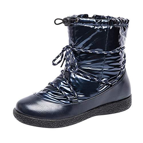 HDUFGJ Winter Damen Stiefel Plus Samt warme Schneestiefel Strahl wasserdicht den Mund Baumwollstiefel Reißverschluss winterstiefelgefüttert Boots kurz Chelsea Boots Outdoor Rutschfest35 EU(Blau)