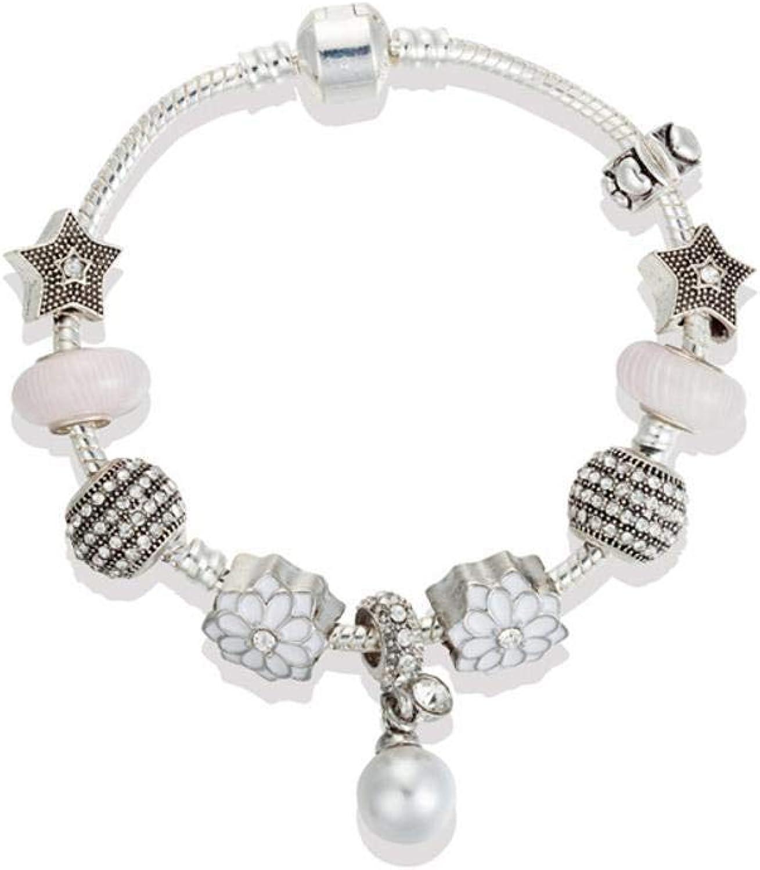 Zicue Stylish Charming Bracelet Exquisite Ornaments Women's Bracelet,PearlSet Diamond Pendant Glass Bead Alloy Inlaid gem Handmade ( Size   19cm )