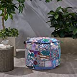 Stylo Culture Cotton Grey Footstool Pouf Ottoman Cover for Living Room 18' Patchwork Embroidered Tuffet Hassock Stool Pouffe Case Floral Cushion Ethnic Home Decorative Furniture (Cover ONLY)