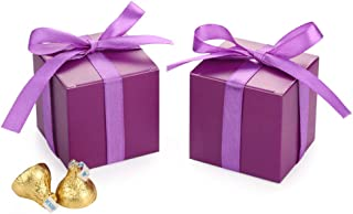 AWELL Purple Gift Candy Box Bulk 2x2x2 inches with Purple Ribbon Party Favor Box,Pack of 50