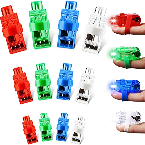 12 Piezas Luces LED para Dedos Luces LED de Dedos de Fiesta Linterna de Dedo Luces de Recuerdo de Fiesta para Juguetes Fiesta Cumpleaños Niños (Azul, Verde, Blanco y Rojo)