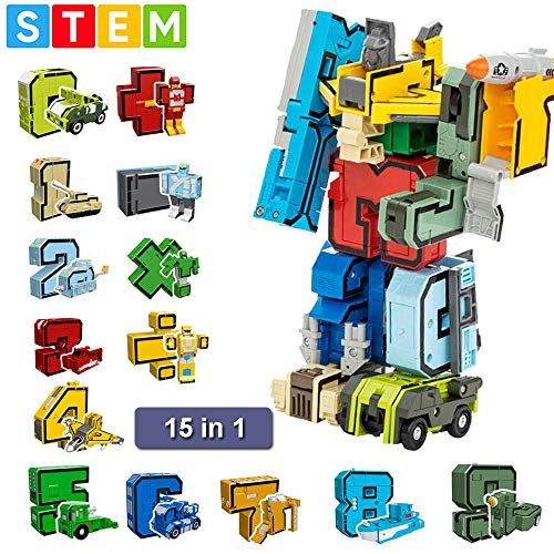 Womdee Number Robot Toy, Kids Robot Toys, Transformer Robot Educational STEM Toys, Autobots Toy with 15 Bots for 2, 3, 4, 5, 6, 7 and 8 Years Kids, for Boys