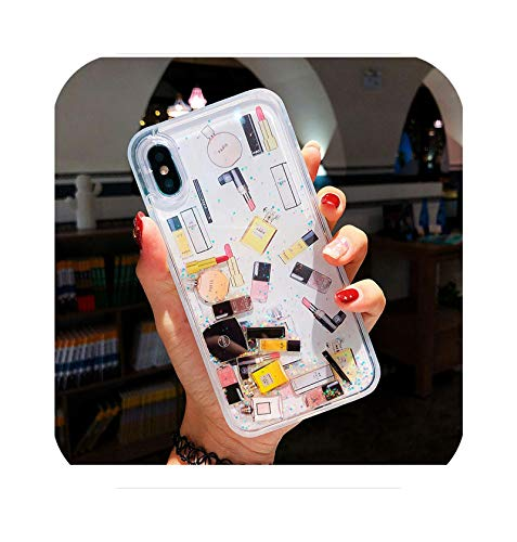 cosmético maquillaje lápiz labial perfume arena movediza purpurina teléfono caso para iPhone 12Mini 12 Pro XS Max XR 6 7 8 Plus SECover para Samsung S9 Plus