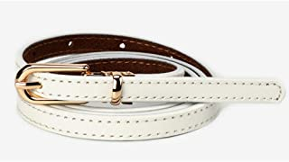 Women's Waist Belts Thin Genuine Leather Gold Skinny Waist Belts for Dresses (Color : White, Size : 100cm)