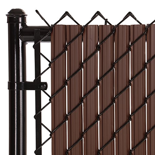 SoliTube Slat Privacy Inserts for Chain-Link Fence, Double-Wall Vertical Bottom-Locking Slats with Wings for 6' Fence Height (Brown)