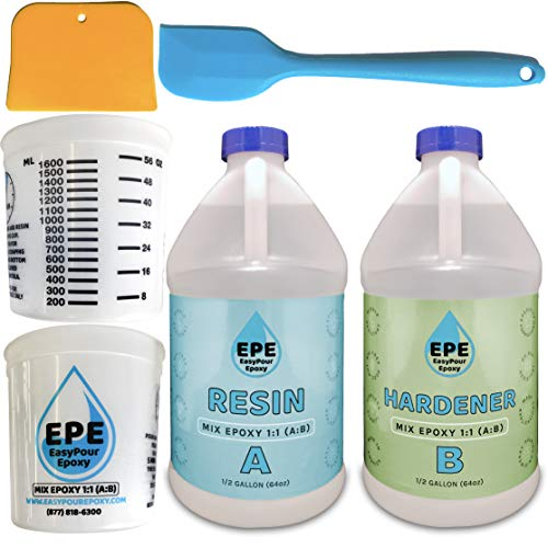 EasyPour Epoxy 1 Gallon Kit - Crystal Clear High Gloss Resin and Hardener, 2 Mixing Cups, Silicone Spatula, Plastic Spreader - Make Wood Tabletops, Epoxy Countertop Resin, Epoxy Castings and Art Work