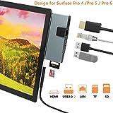 Cateck Station d'accueil USB Hub Multifonction 6 in 1 Surface Pro 4/5/6 avec Port Ethernet Ports USB 3.0 4K HDMI et Lecteur de...