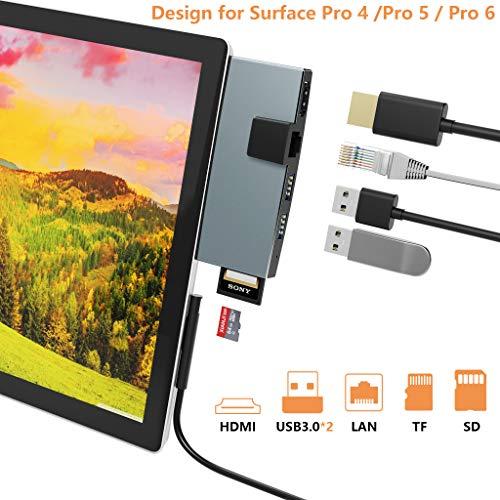 Cateck Surface Pro 4/5/6 Dockingstation HDMI USB Hub Mehrfunktion 6 in 1 USB Adapter mit Ethernet Anschluss, 4K HDMI, USB 3,0 Anschlüssen, SD/TF Kartenleser(Mikro SD), Aluminium leicht Wärmeableitung