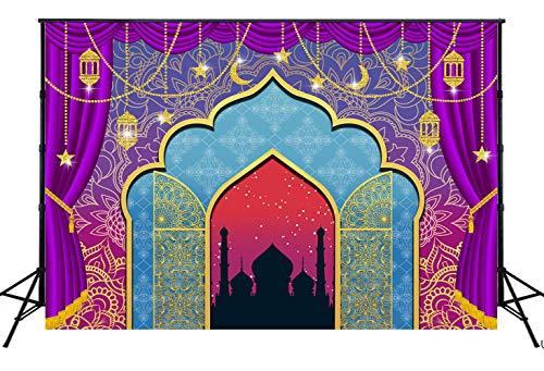 NIVIUS FOTO 220x150cm Arabische Nacht Magic Genie Thema Fotografie Backdrops Marokkaanse Gelukkige Verjaardag Feestartikelen Decor Baby Douche Taart Tafel Photo Booth Banner voor Studio Props W-3338