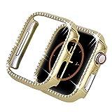 KAAGGF Funda para Apple Watch Case 44 mm 40 mm para IWatch 42 mm 38 mm Diamond Bumper Protector Series 6 5 4 3 2 SE Accesorios (color dorado, diámetro de la esfera: 44 mm serie 654 SE)