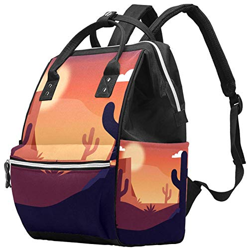 Grand sac à langer multifonction pour bébé avec bouteille d'eau isotherme pour maman et papa, dessert cactus coucher de soleil
