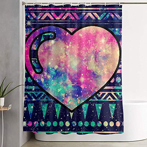 ANTOUZHE Cortina de la Ducha Heart Galaxy Shower Curtain with Hooks 60X72 Inches Liner Polyester Bathroom Curtain for Shower stall Graphic