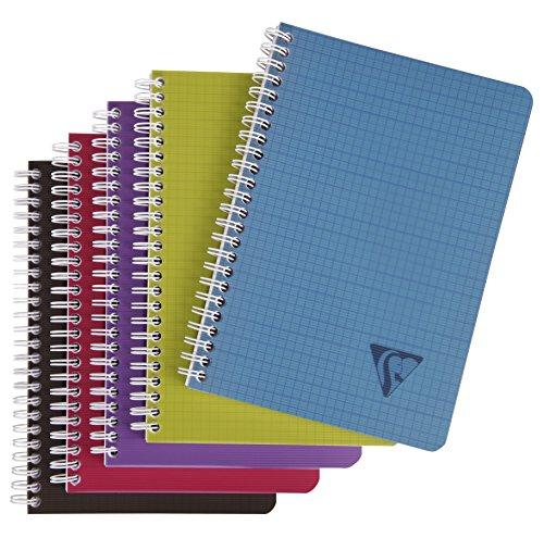 Clairefontaine 329506C Spiralbuch (Linicolor Intense, DIN A5, kariert, 90 Blatt) 1 Stück farbig sortiert