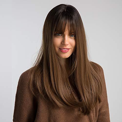 HAIRCUBE 20 pouces Nature Straight Ombre perruques pour femmes blanches Racine noire avec des cheveux bruns Perruques synthétiques avec Blunt Bang (12/35)