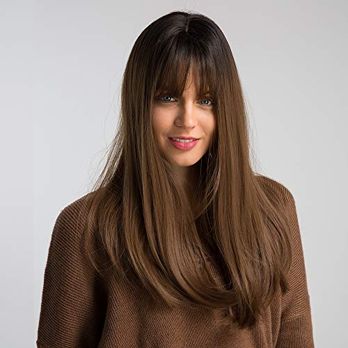 HAIRCUBE 20 Zoll Natur gerade Ombre Perücken für weiße Frauen schwarze Wurzel mit braunen Haaren synthetische Perücken mit stumpfen Bang