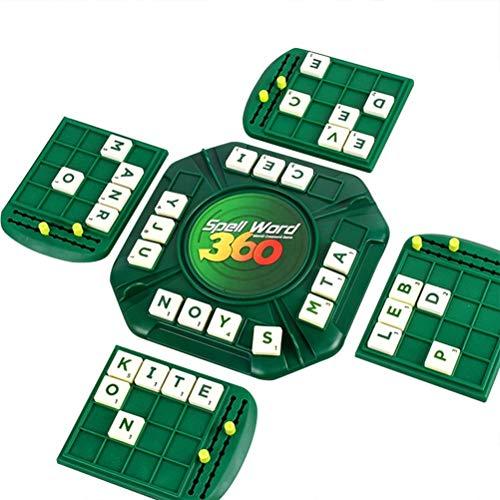 BSTCAR Juego de hechizo de palabras, juegos de ortografía juego de crucigrama, juguetes Montessori juego de mesa para 4 jugadores, regalo para niños y niñas