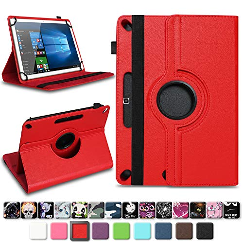 NAUC Acepad A96 Tablet Tasche Schutzhülle hochwertiges Kunstleder Hülle Standfunktion 360° Drehbar Universal Case Cover, Farben:Rot