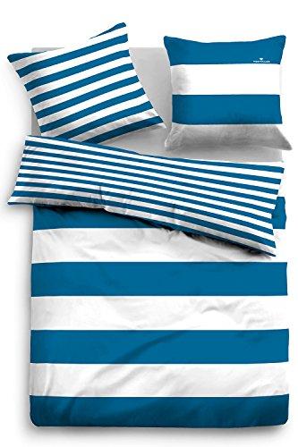 TOM TAILOR 0049769 Linon Bettwäsche Garnitur mit Kopfkissenbezug (Baumwolle) 1x 155x220 cm + 1x 80x80 cm, Blue Bird