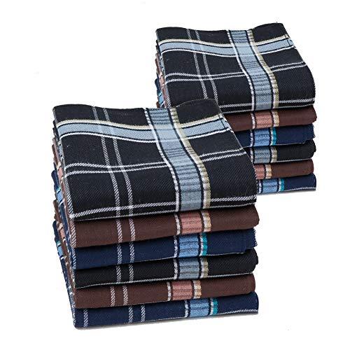 HOULIFE Herren Taschentücher aus Reiner Baumwolle 40x40cm 3 Farben für Alltagsgebrauch 6/12 Stücke Weihnachtsgeschenke