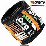 Wuudi Bracelet Magnétique Réglable avec 15 Aimant Puissants Fort Bracelet Bricolage pour Vis Clous Trépans de Forage