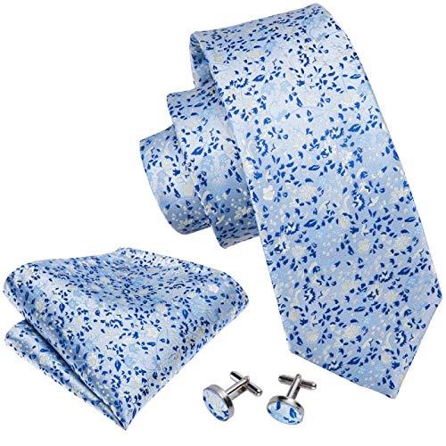 GPZFLGYN Conjunto de corbata de seda 100% para hombre, corbatas, pañuelo, gemelos, conjunto de broche, corbata de bolsillo con flores azules, corbata de boda, pañuelo para el cuello