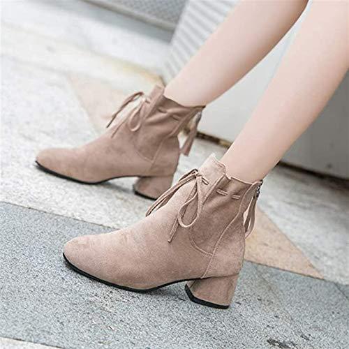 PLAYH Botas Y Botines para Mujer Bombas De Tobillo con Cordones para Mujer Zapatos Cuadrados Punta Redonda Tacones Cortos Y Gruesos Forma Botas Martin De Gamuza Vintage (Color : C, Size : 36)