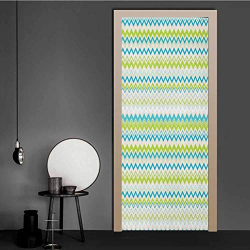 Teal and White Wallpaper Zig Zag Lines in Horizontal Order Chevron Triangles Geometric Door Decorative Stickers Yellowgreen Blue Cream for Home Decoration | 23.6' x 79'