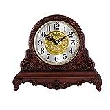 WanuigH Decoración Reloj de la Chimenea de la Sala de Escritorio Reloj Reloj Reloj Estudio de Madera Que se Sienta pasada de Moda Napoleón Reloj de la Chimenea (Color : Marrón, Size : 342x292x122mm)