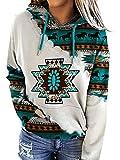 Womens Hoodie Plus Size Hoodies for Women Western Ethnic Style Geometric Rhombus Printed Sweatshirts Shirt Top Teen Girls (Multicolor, 3x_l)