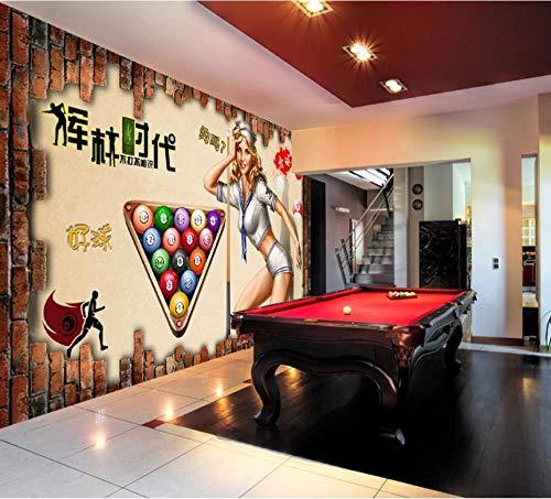 3D Vliestapete Foto Vlies Premium Fototapete 3D Backsteinmauer Stereo Billard Halle Sexy Schönheit Hintergrundbild Mural-350 * 245cm