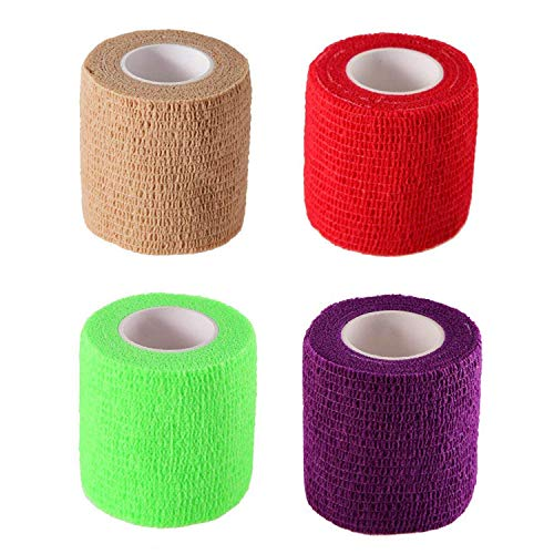 Yards Self Adherent Wrap Adhesive Bandage Tape for Strong Elastic Sports,Wrist,Ankle Sprains & Swelling (4 Pack)