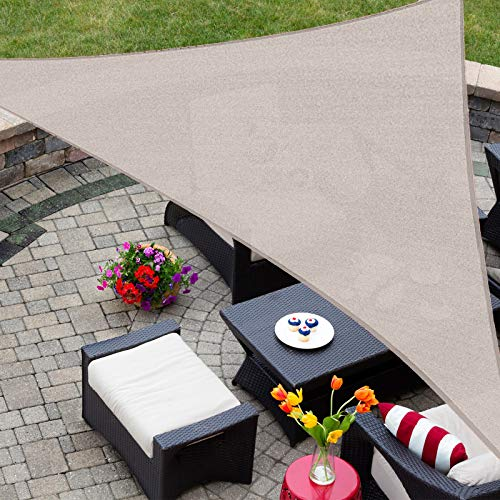 Patio Shack Toldo Vela Triangular 5x5x7,1 m, Vela de Sombra Triángulo Rectángulo HDPE, Transpirable, Resistente y Protección Rayos UV para Exterior, Jardín, Terrazas (Crema)