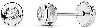 18K White Gold Cubic Zirconia Earrings 4mm Bezel. [Aa2042]