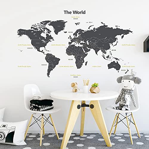 DECOWALL DL-1509G Mappa del Mondo Moderno Grigio (Grande) (Ver. Inglese) Adesivi da Parete Decorazioni Stickers Murali Soggiorno Asilo Nido Camera Letto per Bambini decalcomanie