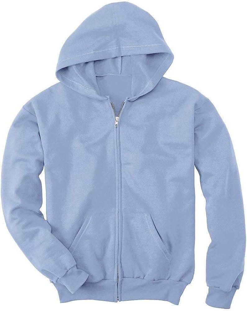 Hanes Youth Comfortblend EcoSmart Full-Zip Hood 7.8 Oz Sweatshirt, Light Blue, M