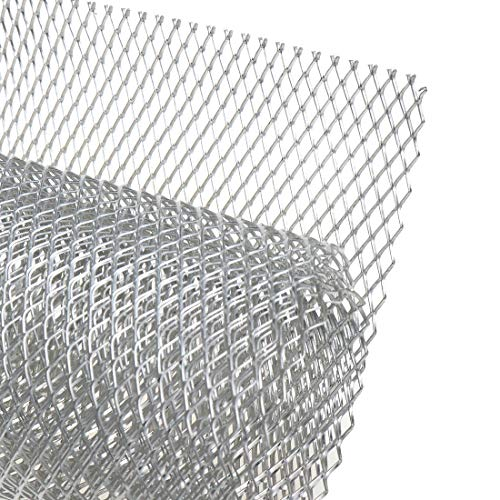 Modengzhe 40 x 13 inch Car Grill Mesh Sheet, Silver Colored Aluminum Alloy Grille Mesh Roll, 6 x 12 mm Rhombic-Shape Grids