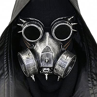 Steampunk Metal Gas Mask with Goggles, Death Mask Helmet for Halloween Costume
