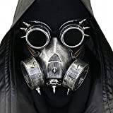 HIBIRETRO Steampunk Metal Gas Mask with Goggles, Full Face Skeleton Warrior Death Mask Helmet for Masquerade Cosplay Halloween Costume - Dark II