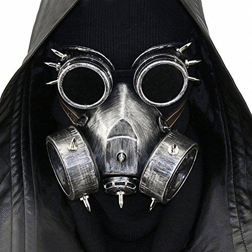 HIBIRETRO Steampunk Metal Gas Mask with Goggles, Full Face Skeleton Warrior Death Mask Helmet for Masquerade Cosplay Halloween Costume - Dark II