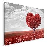 Feeby. Tableau Déco - 1 Partie - 80x120 cm, Impression sur Toile Décoration Murale Image Imprimée, Arbre, Coeur, Nature, Rouge