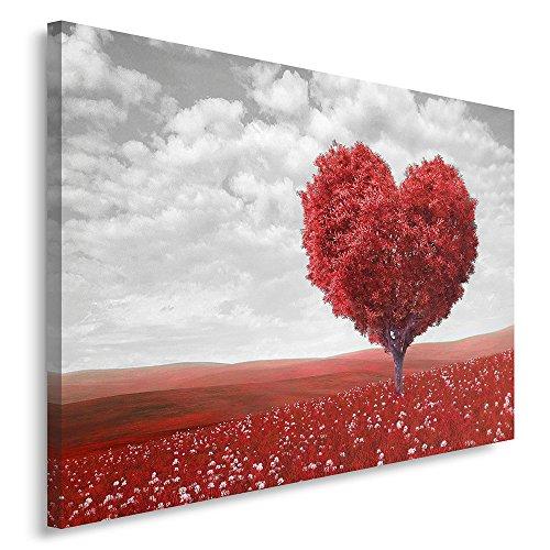 Feeby. Cuadro en lienzo - 1 Parte - 40x50 cm, Imagen impresión Pintura decoración Cuadros de una pieza, ÁRBOL, CORAZÓN, NATURALEZA, ROJO