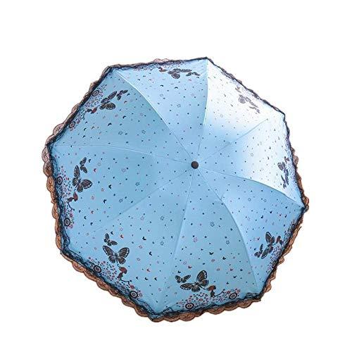 DZNOY Paraguas Plegables Paraguas duraderas Hombres y Mujeres impresión práctica sombrilla (Color : Sky Blue)